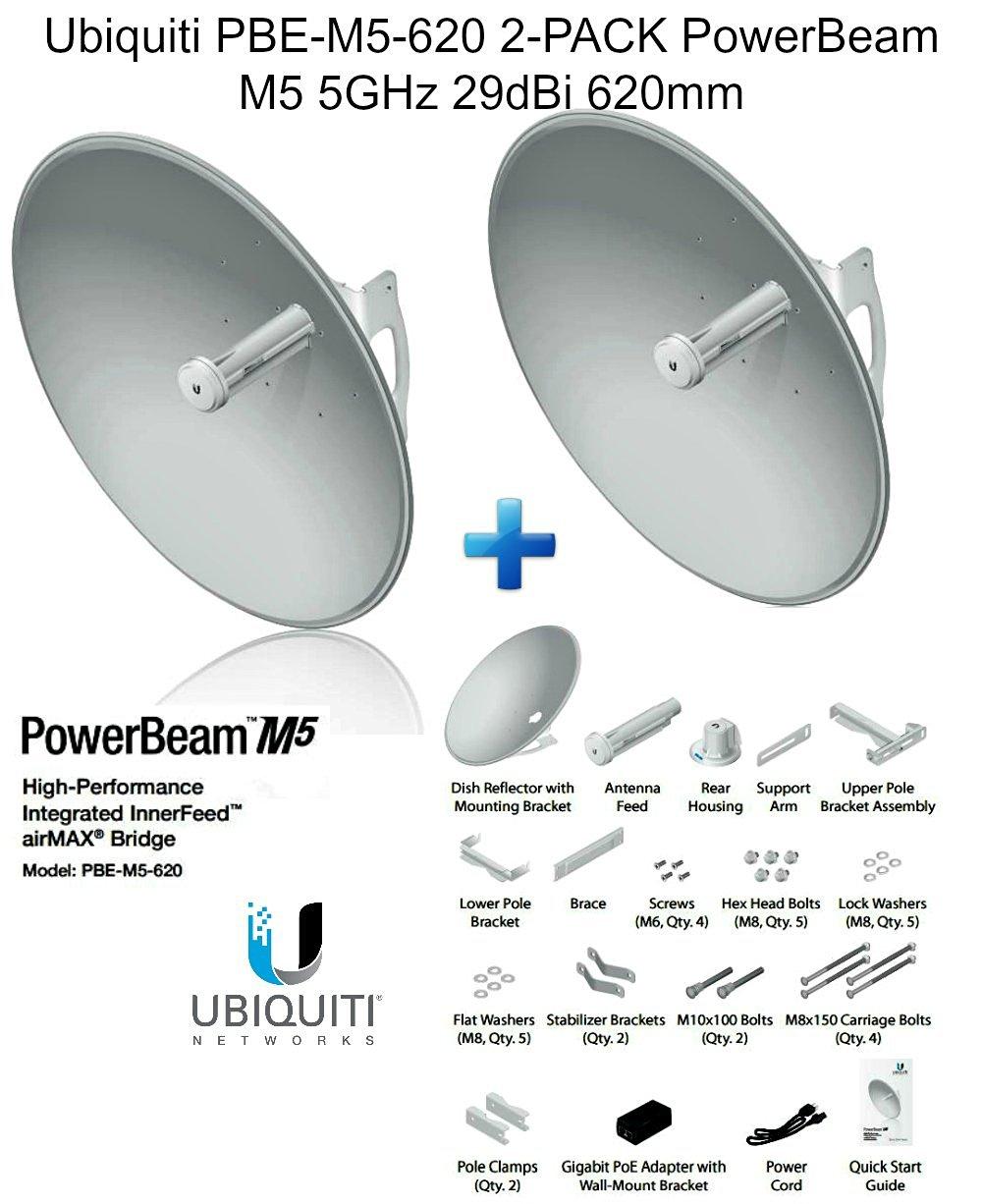 Ubiquiti PBE-M5-620 2-pack PowerBeam M5 5GHz 29dBi 620mm airMAX 30+km 150+Mbps