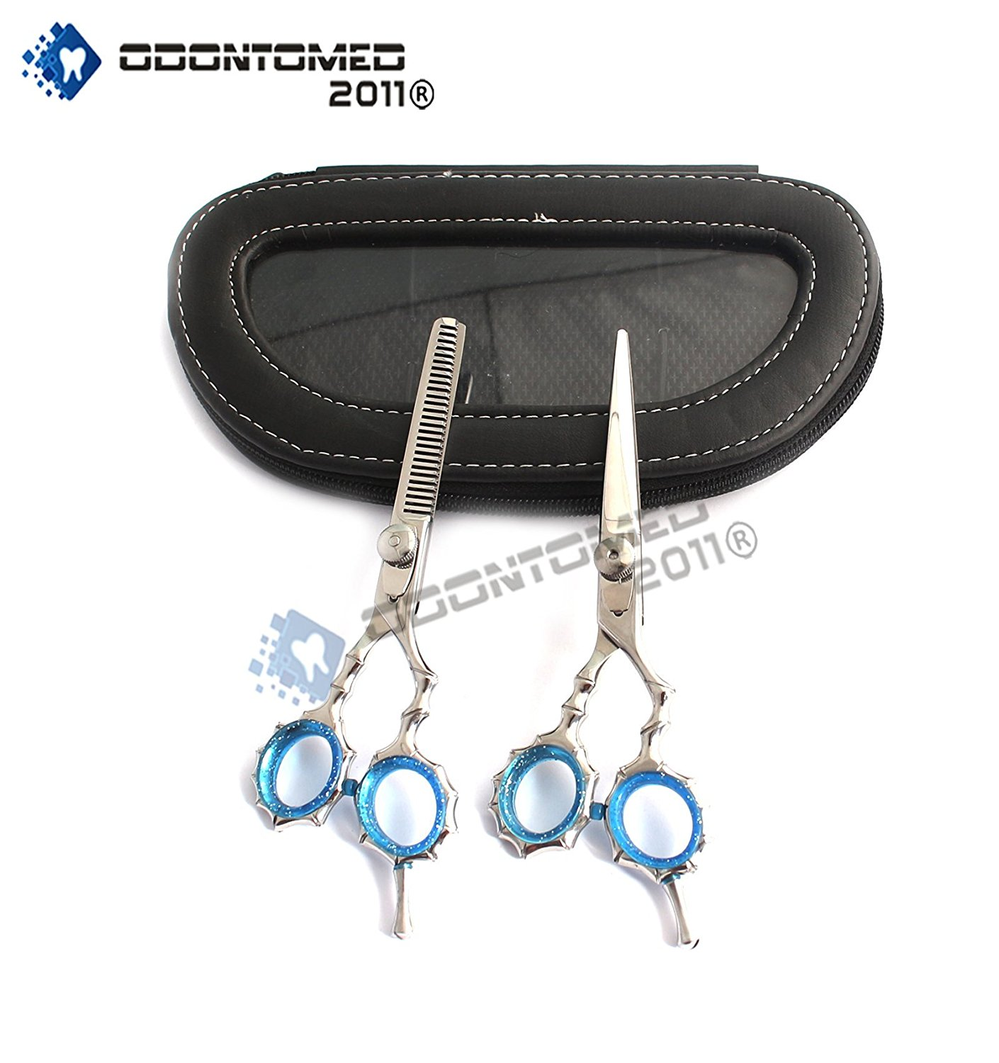 OdontoMed2011 OD2011-D-1509 NEW POLISH J2 SILVER JAPANESE STEEL PROFESSIONAL RAZOR EDGE HAIRDRESSING SCISSORS AND HAIR THINNING SCISSORS/SHEAR SET 5.5 INCH (14CM) A+ QUALITY
