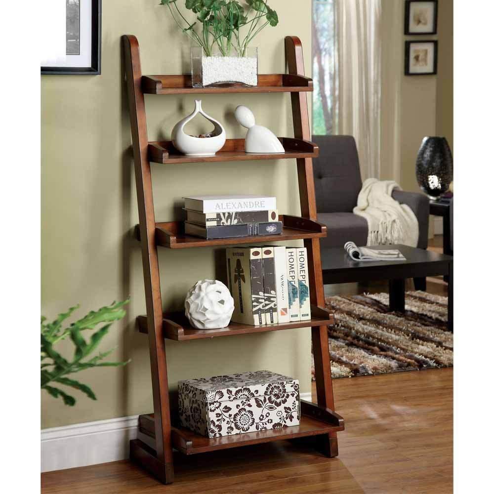 1PerfectChoice Lugo 5-Shelf Ladder Storage Bookcase Display Wall Shelf Solid Wood Antique Oak