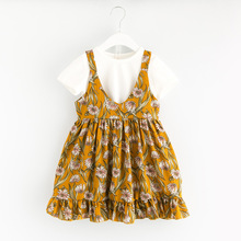 YDA3217new girl dress flower printed cotton two-pieces kid dress