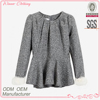 Ladies' fashion long sleeves ruffle bottom pleat wait wool and polyester sleeves latest blouse designs