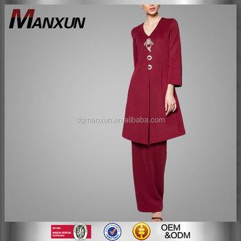 Wholesale Baju Kurung Malaysia Red Wine Kebaya Muslim Women Dress Pictures Kebaya Kurung View Red Wine Kebaya Manxun Product Details From Dongguan