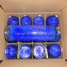 stock 7 days burning time church candle/8 inches religious candle/multi color church candle in glass bottle wholesale