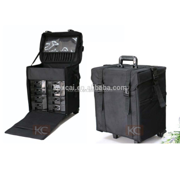 cc2adc3fabc1 High quality Travel makeup case hairdresser tool case with wheels trolley  Nylon makeup case