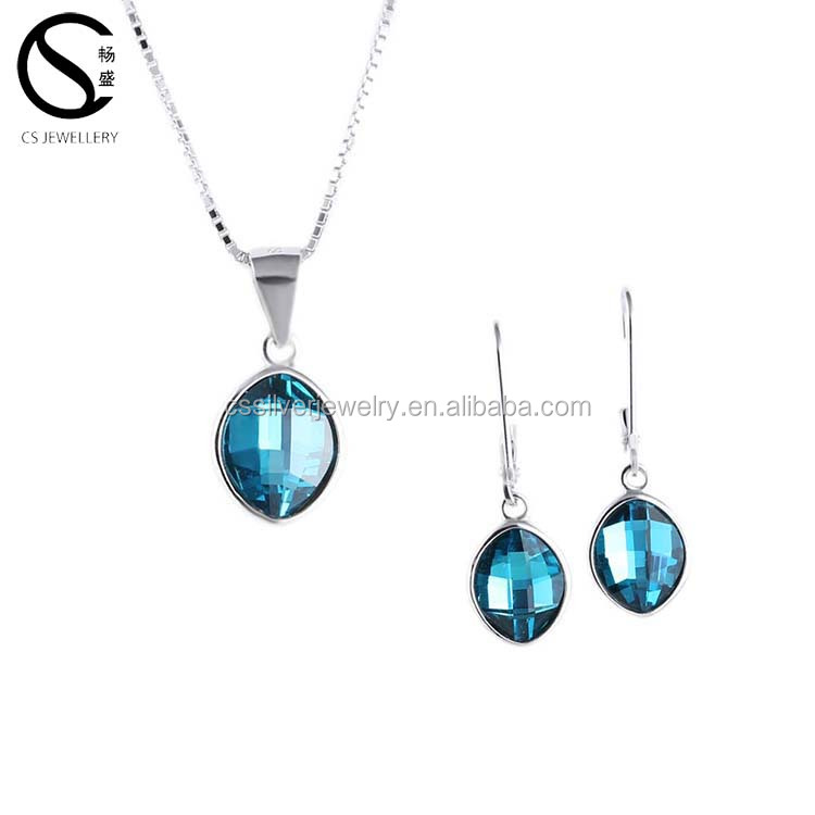 E-7362 Luxury wholesale austrian crystal necklace earring fashion jewelry set