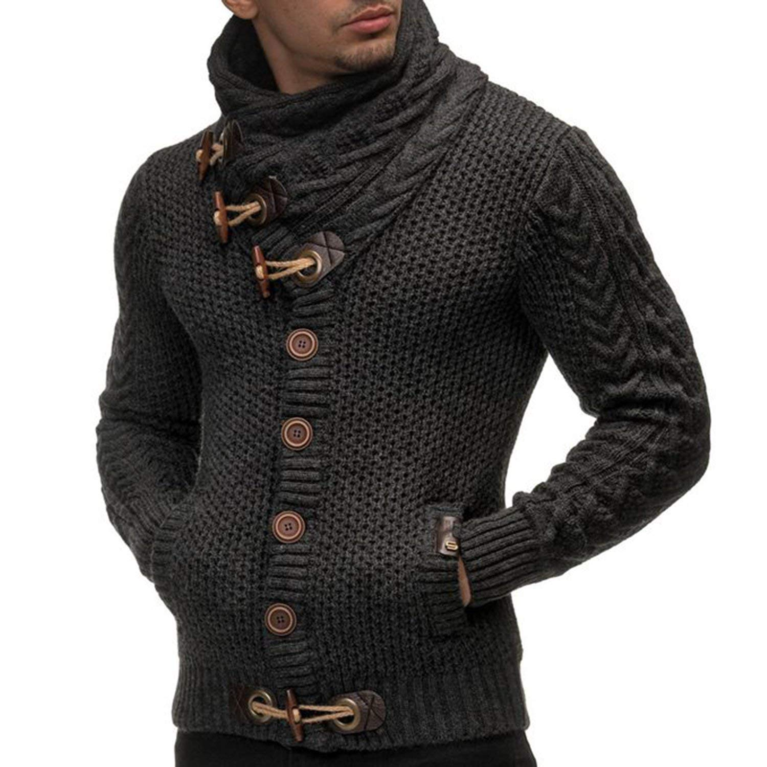 Cromoncent Mens Autumn Winter Casual Turtleneck Cable Knit Pullover Jumper Sweater