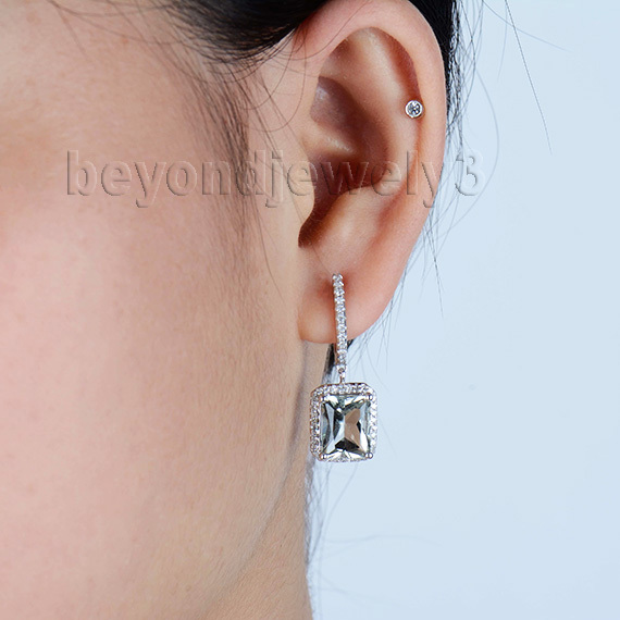 New Arrival Natural Diamond Emerald Cut Green Amethyst Engage Earrings With Lever Back In Solid 14kt