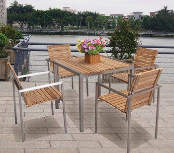 Hot Sale Teak Table And Chair With Stainless Steel Frame For Outdoor  Furniture Part 51