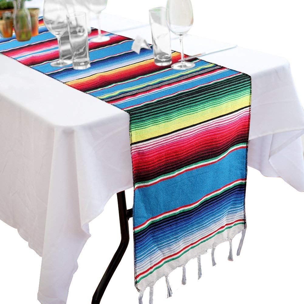 Colorful Striped Handwoven Fringe Cotton Blanket Pink 14x108 inch Mexican Serape Table Runner with Tassels for Mexican Home Party Decorations Christmas Thanksgiving Outdoor Wedding Ceremony