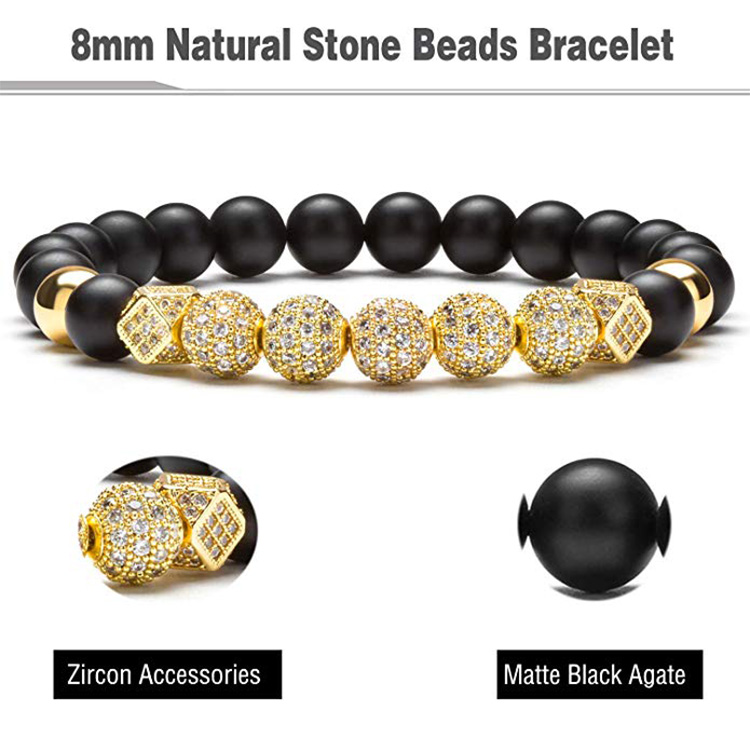 Good Sale Zircon Charm Beads Bracelet Jewelry Accessories Black Matte Onyx Natural Stone Beads Bracelet for Men Women