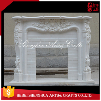 White Marble cheap stone fireplace