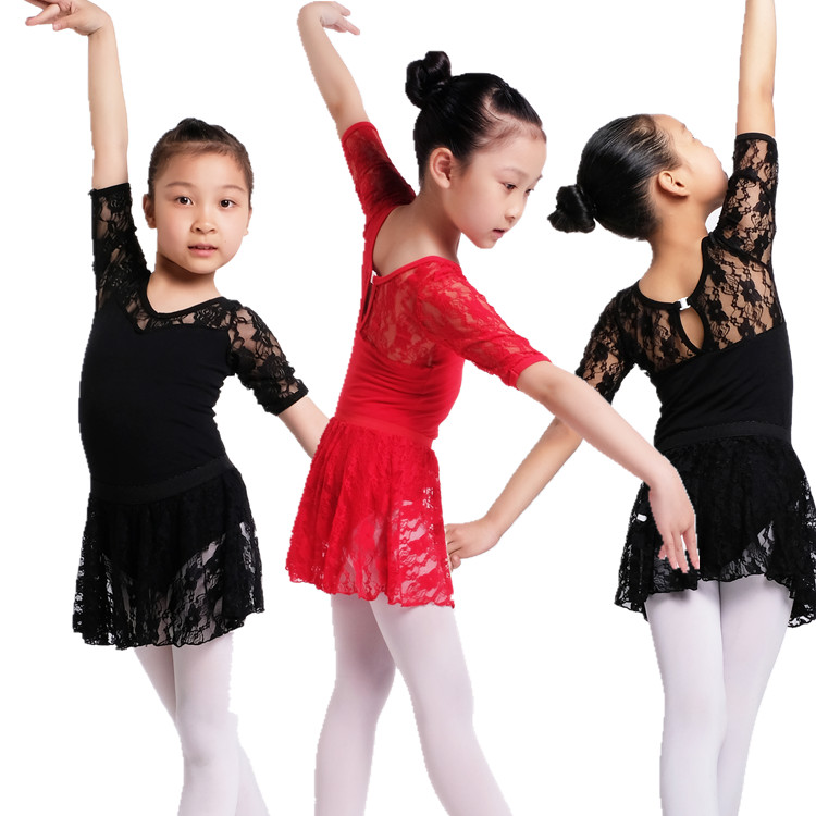 Ballet Leotard Girls Short Sleeve Lace Tutu Skirt Kid Clothing Ballet Gymnastics Leotards Dresses Ballet Dancing Costumes Q1080