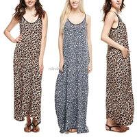wholesale clothing tall women Strap V Neck Leopard Maxi Dress One piece long dress