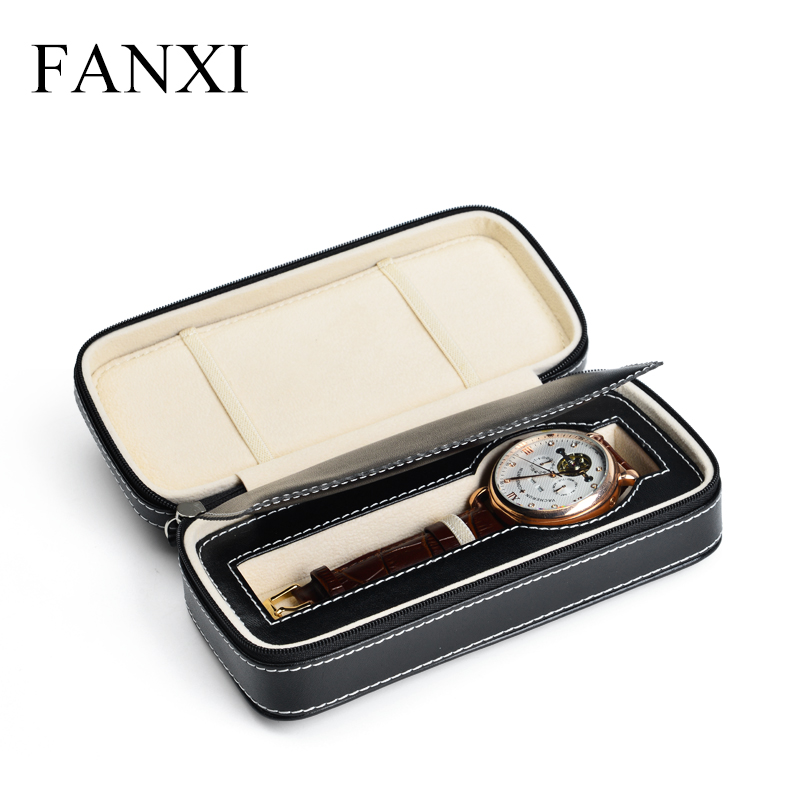 FANXI Watch Case Manufacturer Custom Made Black Watch case With Double layers Of Cowhide Watch Case