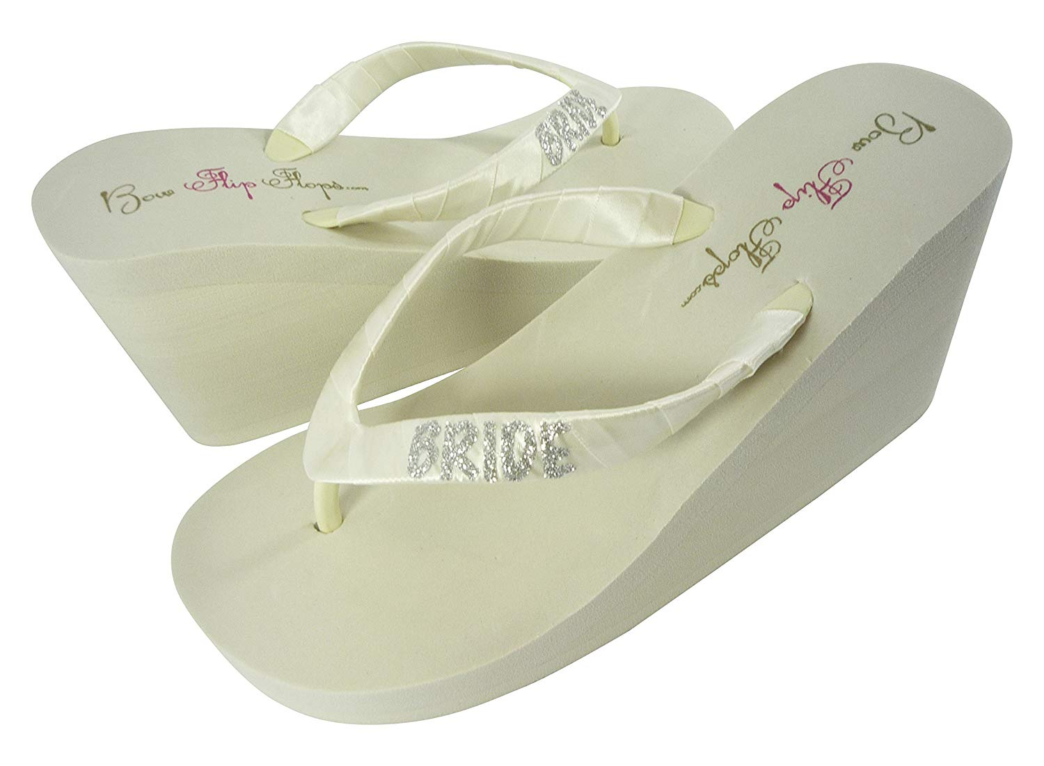 2e42e3b91887 Get Quotations · Customizable Glitter Bride Wedge Flip Flops Wedding Sandals  Ivory White in Low or High Heel
