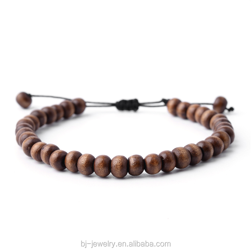 Wood Bead Strand Braided Pave Men