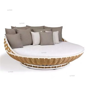 Brown rattan wicker cane furniture latest design outdoor cheap garden patio round sleeping bed sun loungers
