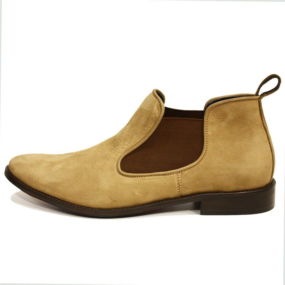 PeppeShoes Modello Lucjano - Handmade Italian Mens Brown Ankle Chelsea Boots - Cowhide Suede - Slip-On