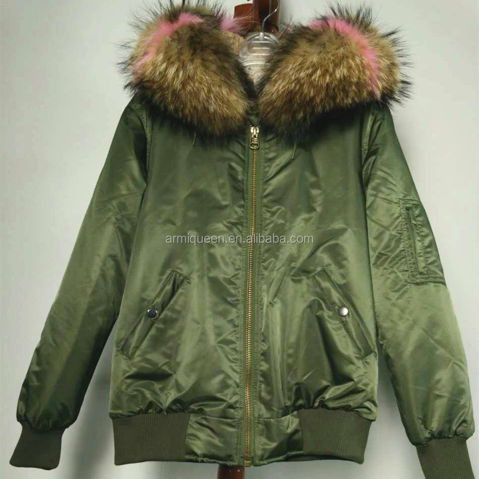 b29513c0a7 2017 ropa impermeable verde militar piloto de bombardero chaqueta con cuello  de piel de mapache