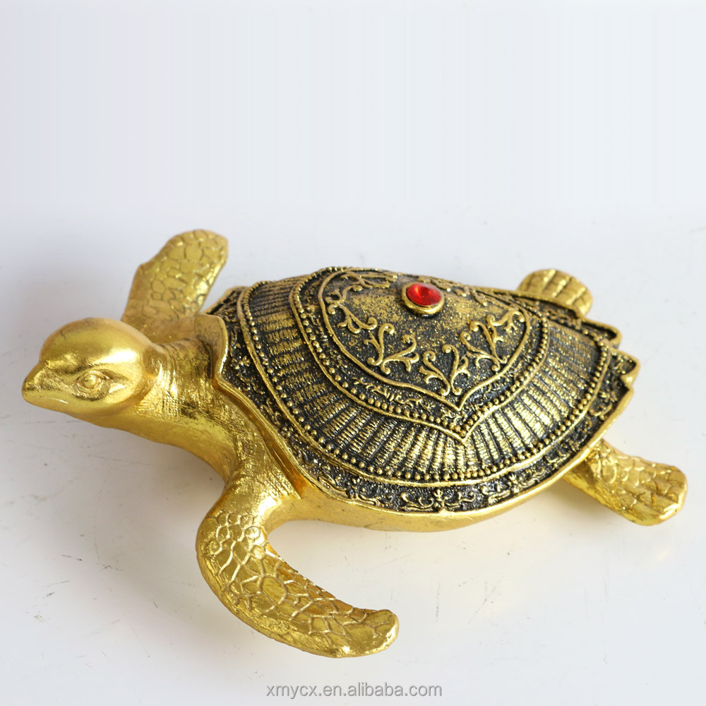 Souvenirs And Handcraft Turtle Statue 3D Resin Sea Gold Turtle Decoration