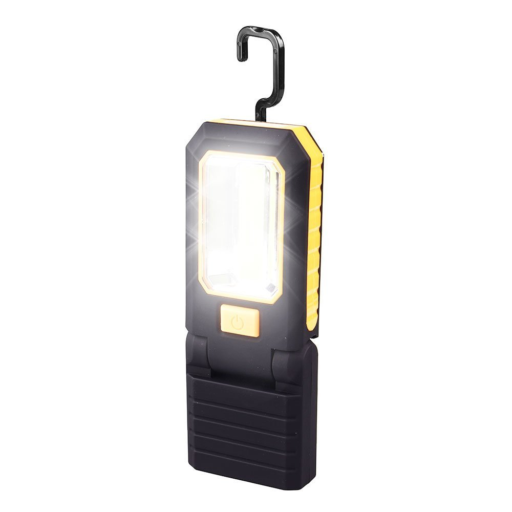 Work Light LED, with Magnetic, Battery Powered, with Flashlight and Stand, Cordless Portable COB Work Light with Retractable Hanger, Foldable Black/Yellow iWireless USA