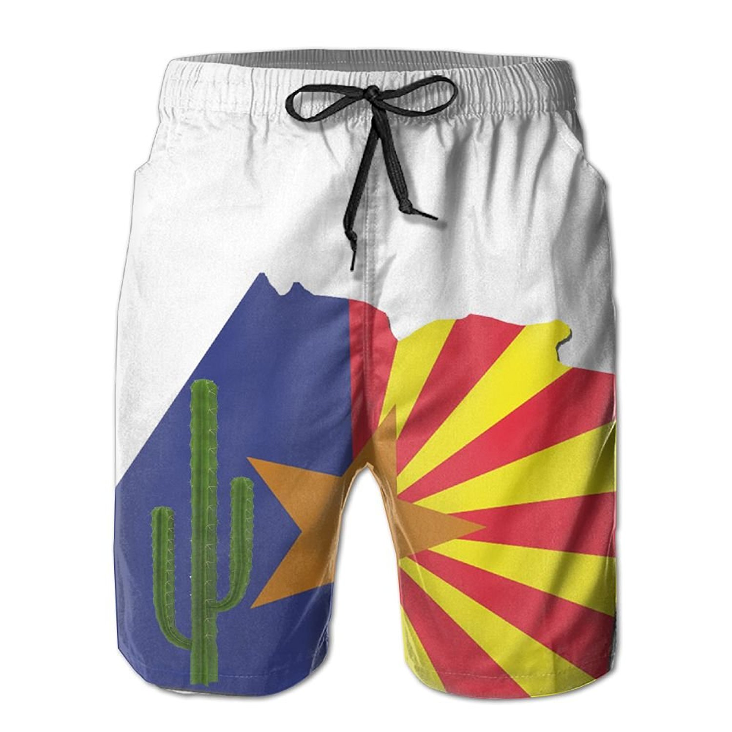 cd7345bfaa Get Quotations · Men Cactus Arizona Flag Beach Shorts Swimming Trunks Cargo  Shorts