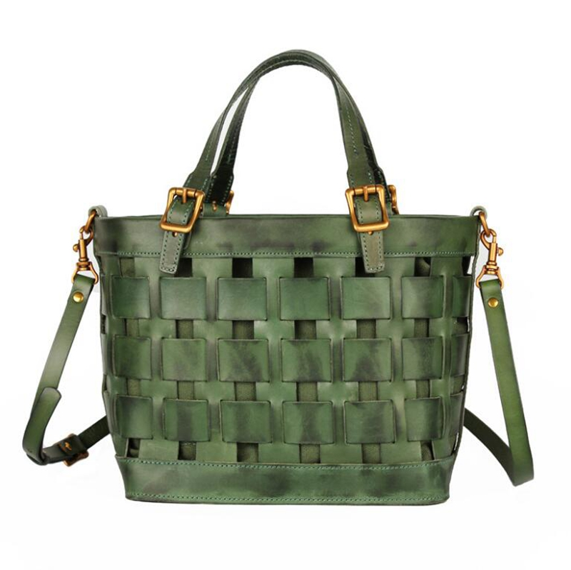 Dreamtop DTD471 woven leather lady tote bag vintage fahsion vegetable tanned leather handbag women wholesale