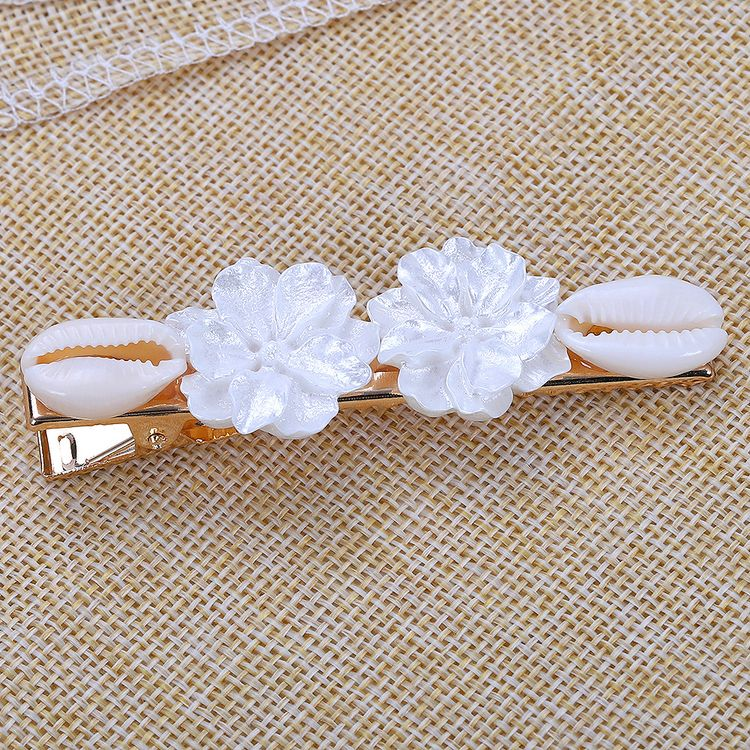 2019 Elegant Featured European and American Trend Hair Clip Scallop Shell Flower Alloy Hairpin