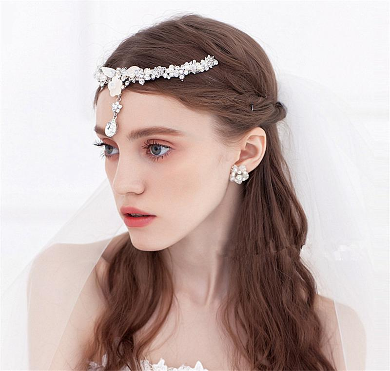 Shell Flower Forehead Tiara Headband Pearl Head Chain Hair ...