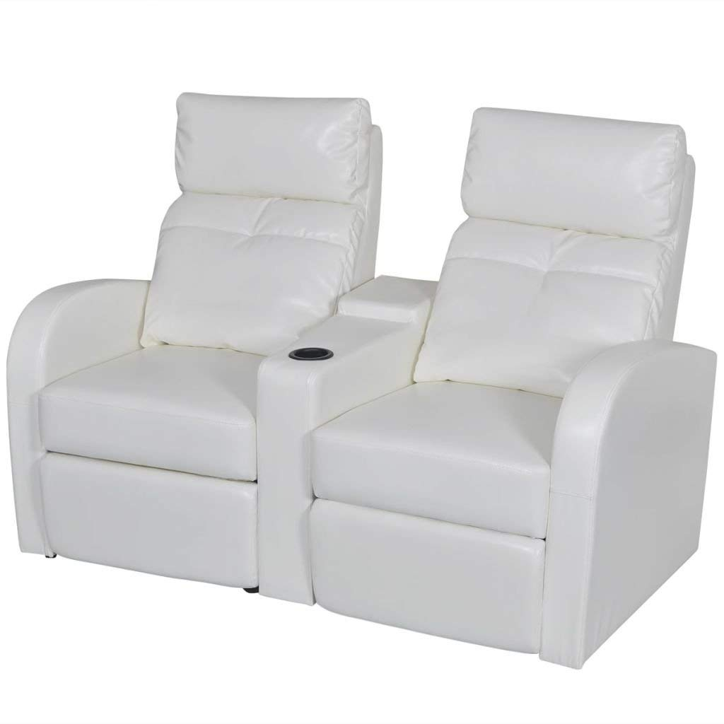 """2-seat White Artificial Leather Reclining Sectional Sofa Set Home Cinema Furniture Recliner Couch With Adjustable Backrest And Footrest 59.4"""" x 33.5"""" x 40.6"""""""