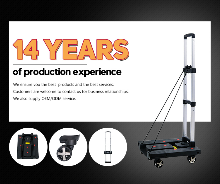 Outdoor Plastic Portable Folding Rolling Hand Luggage Cart Car
