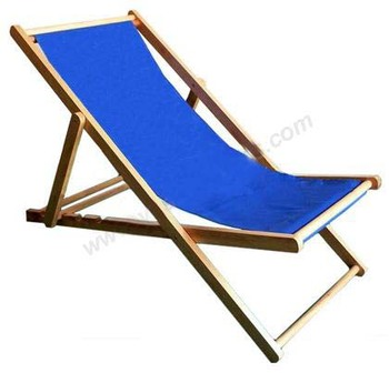 Portable Wooden Adjule Blue Outdoor Camping Deck Chair