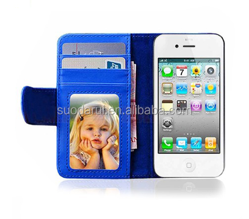Mix colors Bookstyle Wallet Leather flip case cover for <strong>iphone</strong> 4 4s <strong>4g</strong>