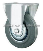 Industrial Grey Rubber Caster, fixed, rigid, roller bearing