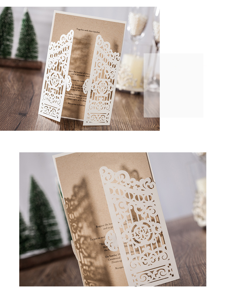 ALiiSAR Factory Direct Selling Laser Cut Wedding Card Invitations High Quality Wedding Card