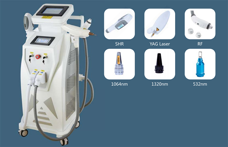 Effective vertical 3 in 1 e light ipl rf nd yag laser multifunction machine painless ladies vagina hair and tatoo removal