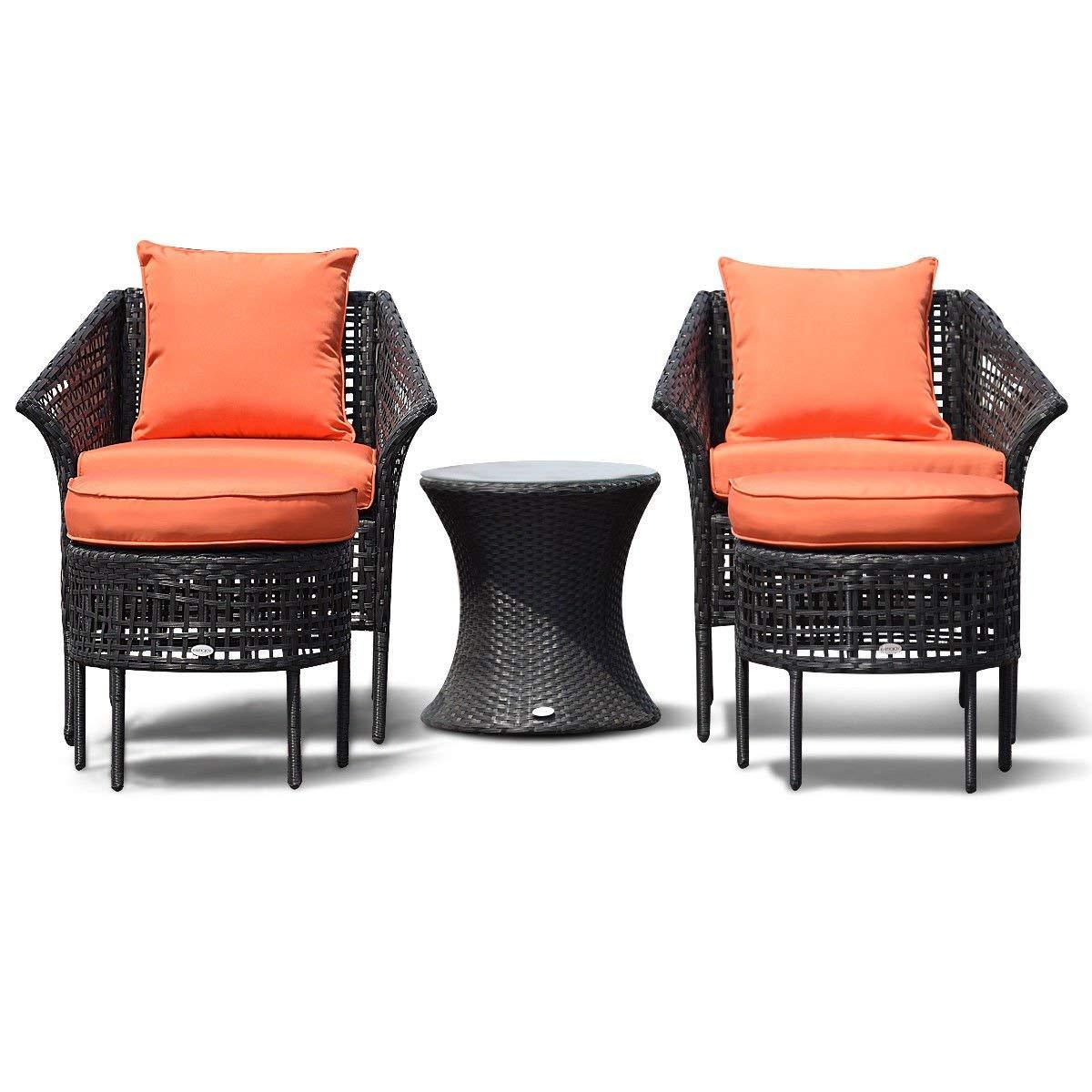 Get Quotations Kchex 5 Pcs Furniture Dining Sets Leisure Set Patio Rattan Seats Table Ottoman Orange