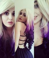 Trendy Lace Front Futura Fiber Lace Front Ombre Purple Hair Wig ...
