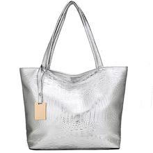 261086cf9c Kunzite Crocodile Pattern Soft Women Leather Handbag Silver Gold Black Shoulder  Bag Big Female Casual Tote