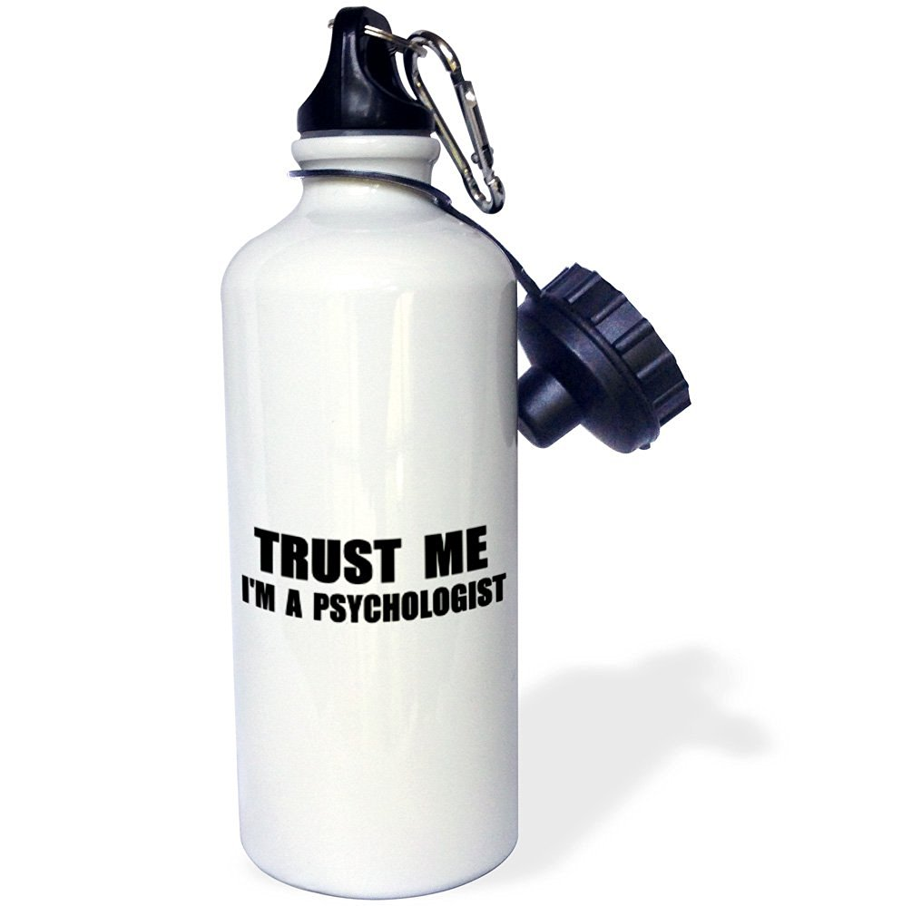 3dRose wb_195649_1 Trust Me Im a Psychologist-Work Humor-Funny Psychology Job Gift Sports Water Bottle, 21 oz, White