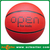 cheap custom print red black yellow rubber basketball size 7