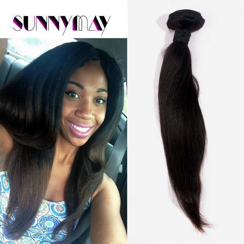 Get Quotations · Sunnymay 100g Indian Yaki Straight Hair Weft Yaki Straight  Virgin Hair Weave Soft Yaki Straight Hair 8f7d4f053e70