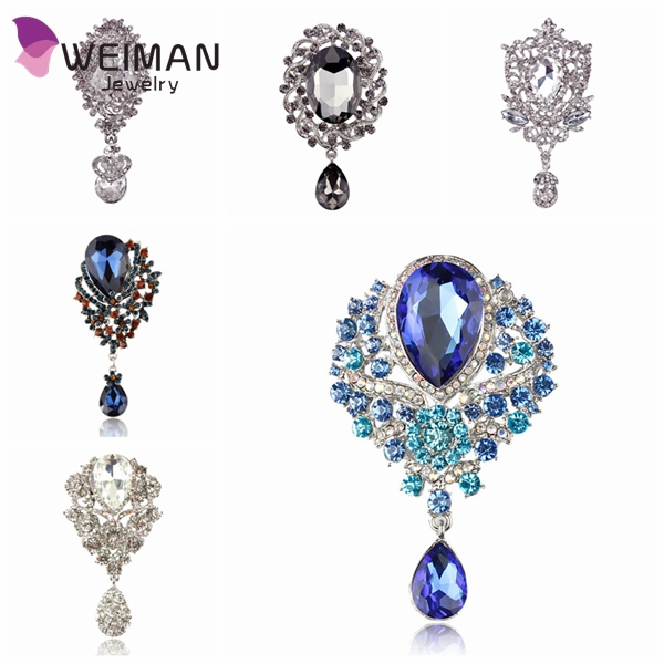2d3e450a182 Wedding Bridal Bouquet Clear Crystal Rhinestone Teardrop Dangle Brooch Pin  - Buy Dangle Brooch Pin,Teardrop Brooch,Wedding Bridal Brooch Product on  Alibaba. ...