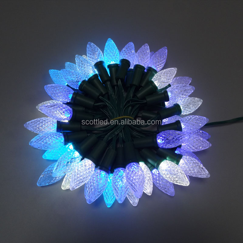 12V full color RGB strawberry shaped LED C7 / C9 pixel string Christmas lights