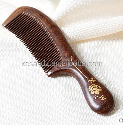 Health Care Black Sandalwood Long Handle Hair Massage Comb