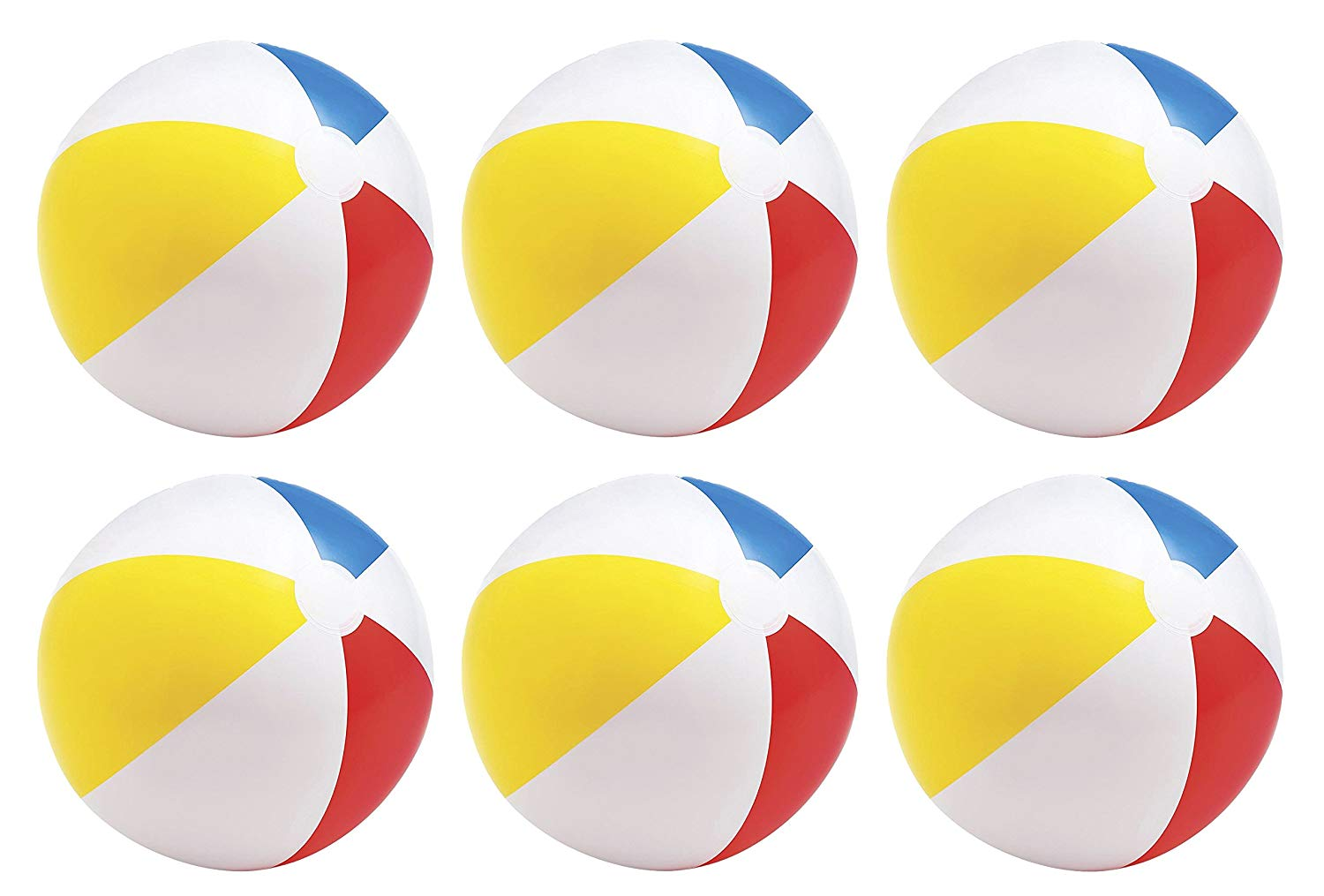 "Intex Glossy Panel Colorful Beach Ball, 20"", 6 Pack"