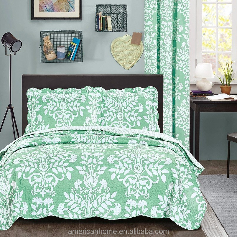Hand Stitch Printed Bed Cover and Quilted Curtain