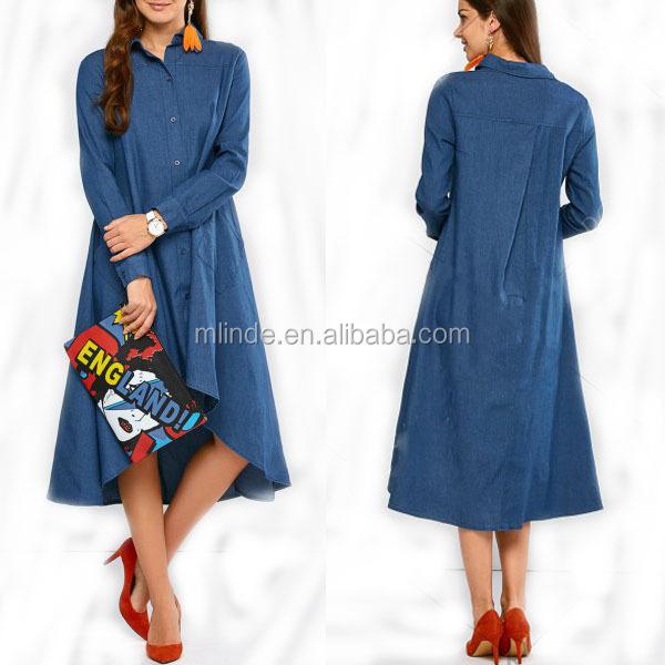 4867f3db4c Wholesale Custom Plus Size Women Ladies Denim Muslim One Piece Trendy High  Low Denim Shirt Dress Pretty Fashion Dress