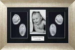 BabyRice Baby Christening Gift Handprint & Footprint Imprints Kit, Antique Silver effect Box Display Frame