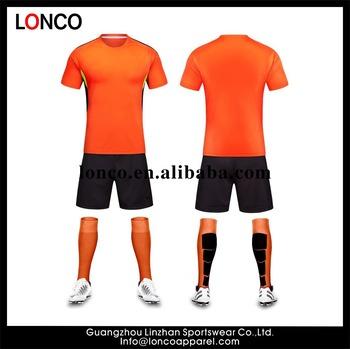 dde0302cc442b OEM en blanco Jersey naranja negro corto uniforme del fútbol fijó Venta  caliente diseño uniforme de